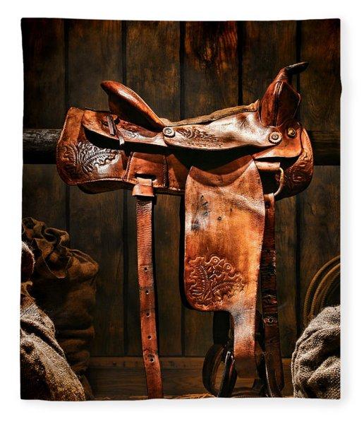 Old Western Saddle Fleece Blanket