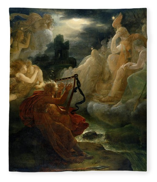 On The Bank Of The Lora, Ossian Conjures Up A Spirit With The Sound Of His Harp, C.1811 Oil Fleece Blanket