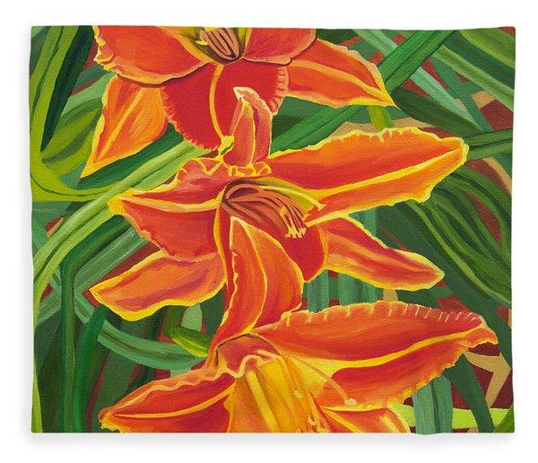 Orange Lilies Fleece Blanket