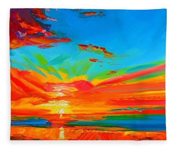 Orange Sunset Landscape Fleece Blanket