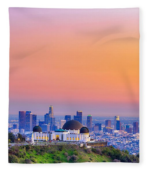 Orangesicle Griffith Observatory Fleece Blanket