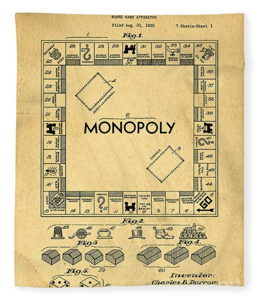 Original Patent For Monopoly Board Game Fleece Blanket