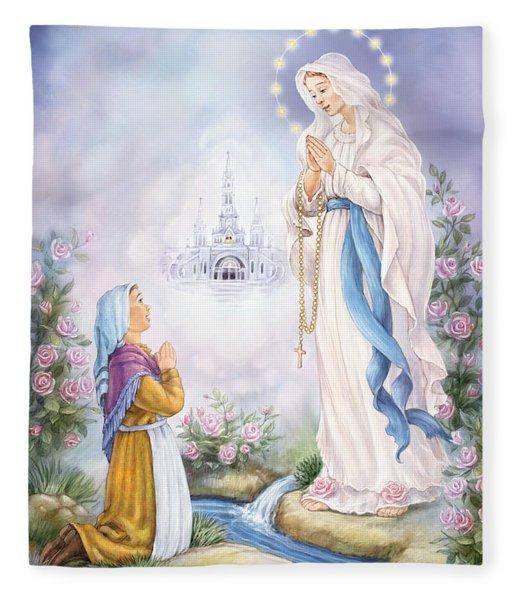 Our Lady Of Lourdes Fleece Blanket