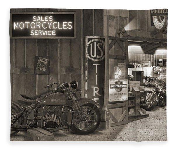 Outside The Old Motorcycle Shop - Spia Fleece Blanket