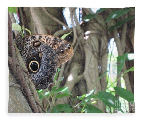Owl Butterfly In Hiding Fleece Blanket