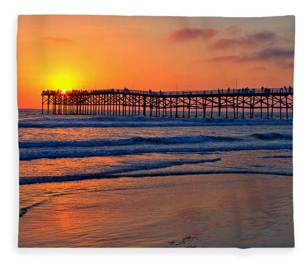 Pacific Beach Pier - Ex Lrg - Widescreen Fleece Blanket