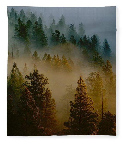 Pacific Northwest Morning Mist Fleece Blanket