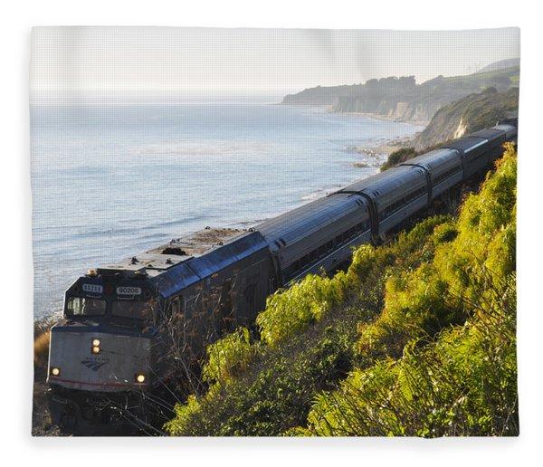 Pacific Surfliner Along The Central Coast Fleece Blanket