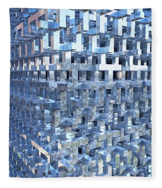 Fleece Blanket featuring the digital art Paisley Block Array by Matt Lindley