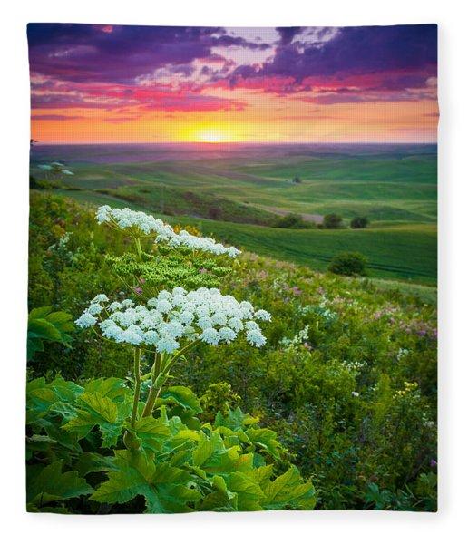 Palouse Flowers Fleece Blanket