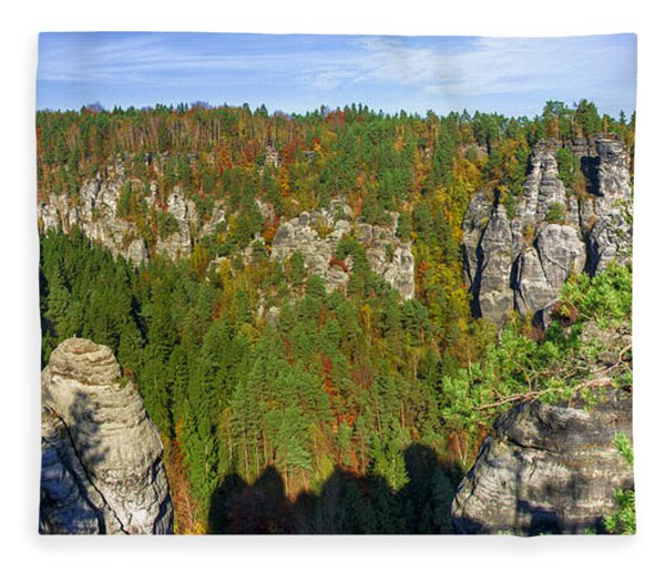 Panoramic View Of The Elbe Sandstone Mountains Fleece Blanket