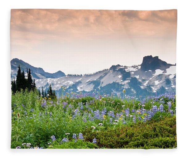 Paradise Meadows And The Tatoosh Range Fleece Blanket