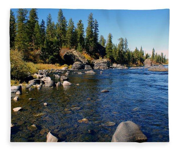 Peace On The Spokane River 2 Fleece Blanket