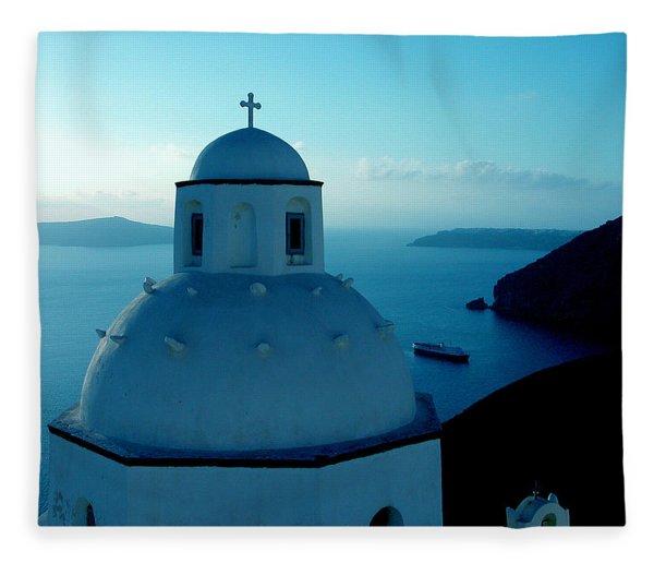 Fleece Blanket featuring the photograph Peacefull Santorini Greek Island  by Colette V Hera  Guggenheim