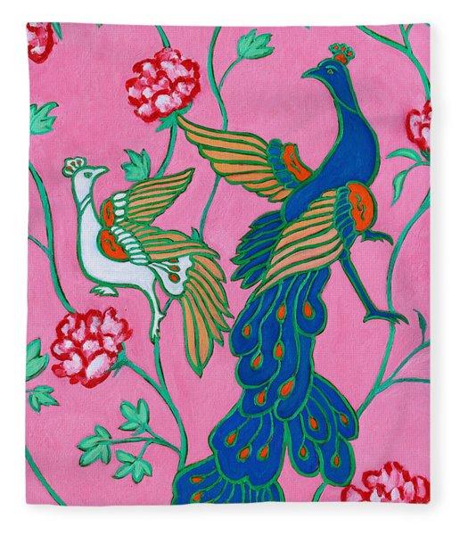 Peacocks Flying Southeast Fleece Blanket