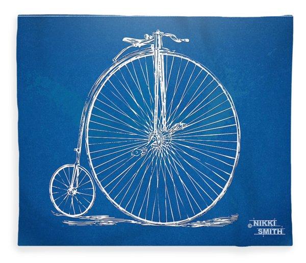 Penny-farthing 1867 High Wheeler Bicycle Blueprint Fleece Blanket