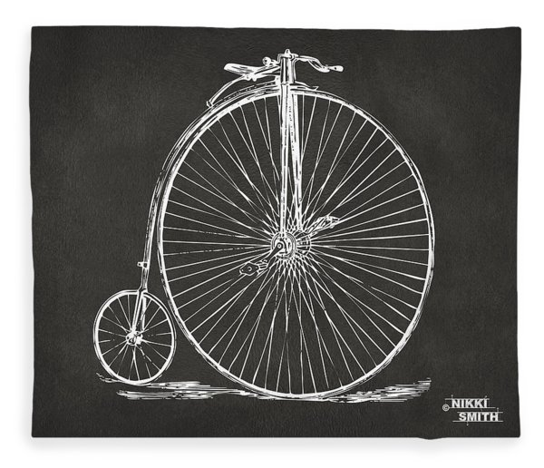 Penny-farthing 1867 High Wheeler Bicycle Patent - Gray Fleece Blanket