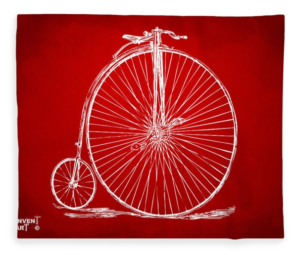 Penny-farthing 1867 High Wheeler Bicycle Patent Red Fleece Blanket