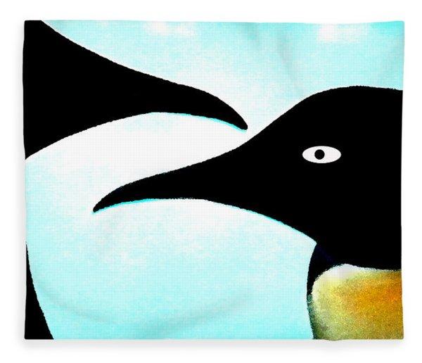 Fleece Blanket featuring the painting Penquin Love by Colette V Hera  Guggenheim