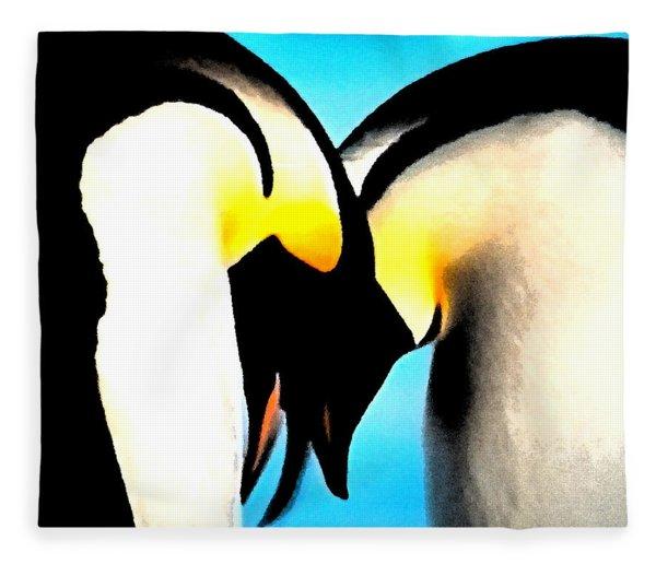 Fleece Blanket featuring the painting Penquin Love Dance by Colette V Hera  Guggenheim