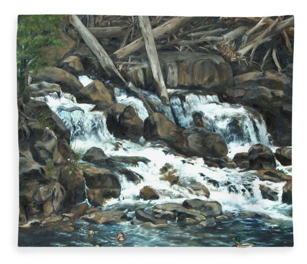 Picnic At The Falls Fleece Blanket