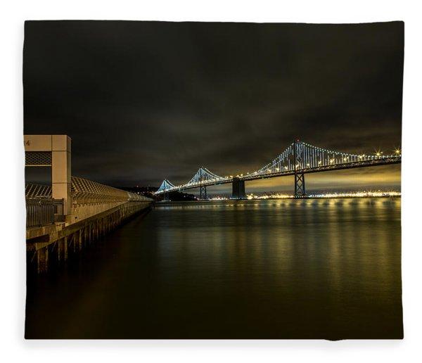Pier 14 And Bay Bridge At Night Fleece Blanket