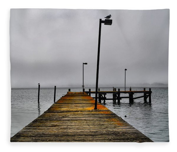Pier Into The Fog Fleece Blanket