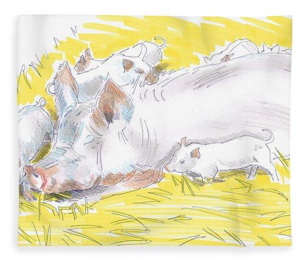 Pig Sow And Piglets Fleece Blanket