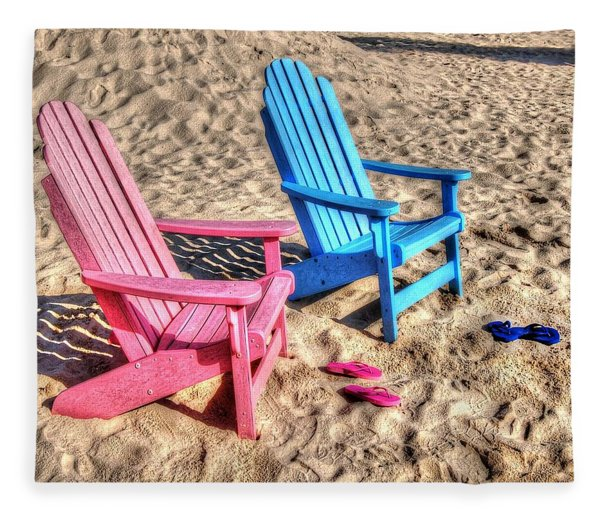 Pink And Blue Beach Chairs With Matching Flip Flops Fleece Blanket