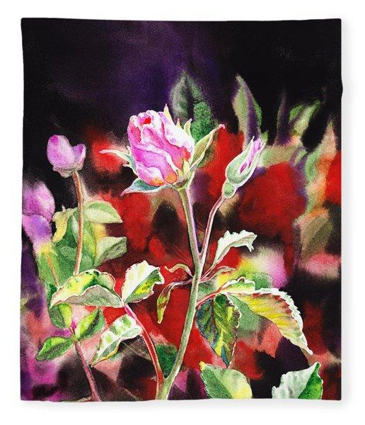 Pink Rose Bloom Fleece Blanket