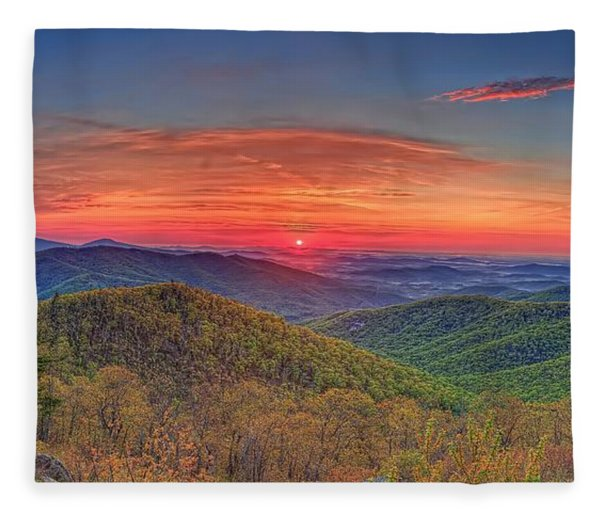 Pink Sunrise At Skyline Drive Fleece Blanket