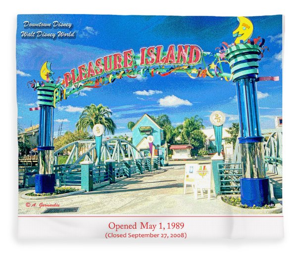 Pleasure Island Sign And Walkway Downtown Disney Fleece Blanket