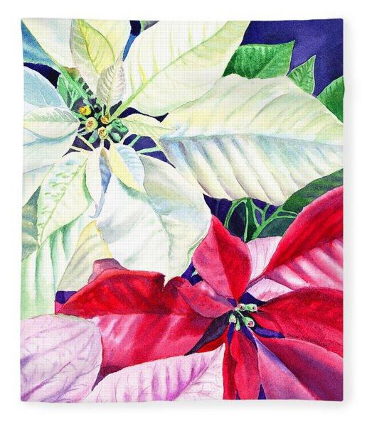 Poinsettia Christmas Collection Fleece Blanket