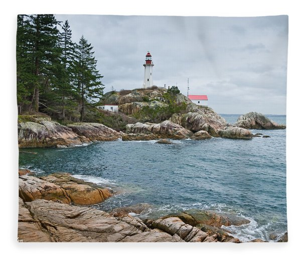 Point Atkinson Lighthouse And Rocky Shore Fleece Blanket