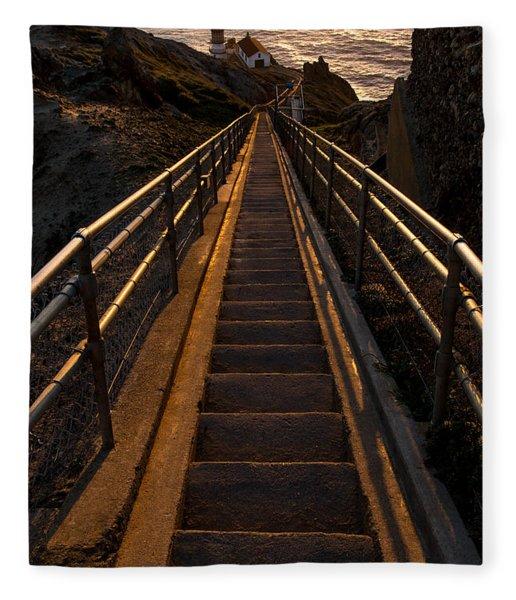 Point Reyes Lighthouse Staircase Fleece Blanket