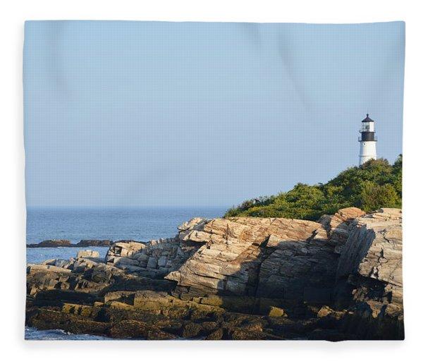 Portland Head Light In Summer Fleece Blanket