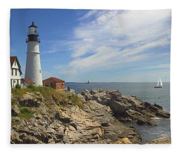 Portland Head Lighthouse Panoramic Fleece Blanket