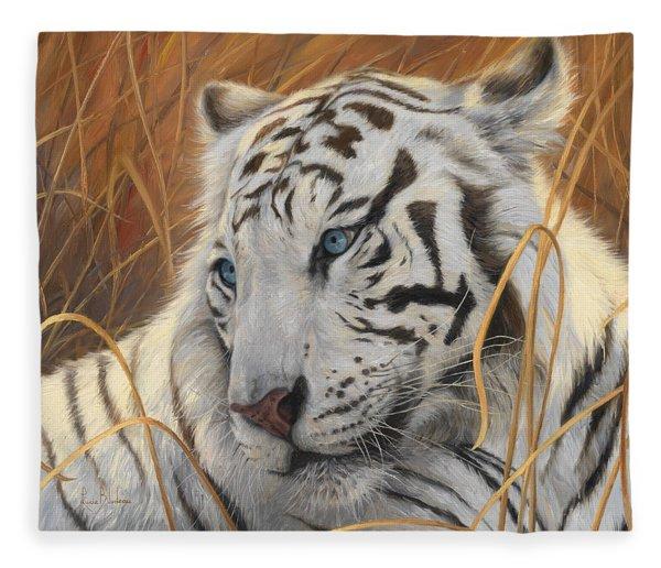 Portrait White Tiger 1 Fleece Blanket