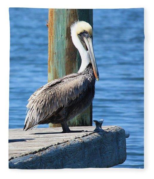 Posing Pelican Fleece Blanket