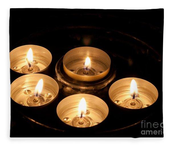 Prayer Candles In Notre Dame Fleece Blanket