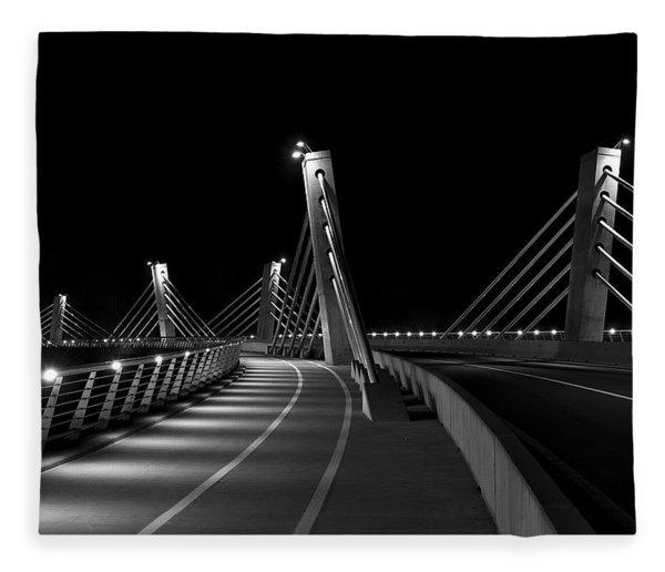 Ptuj Bridge Bw Fleece Blanket