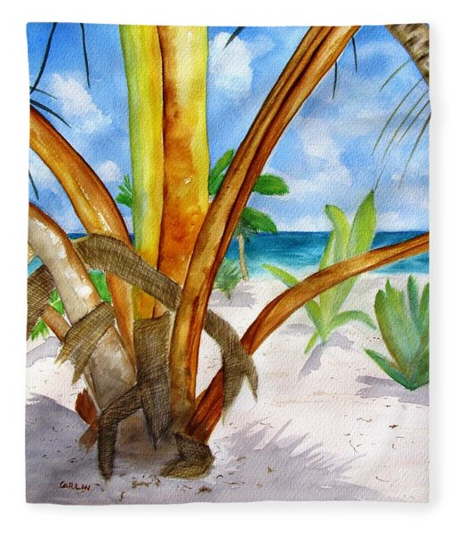 Punta Cana Beach Palm Fleece Blanket