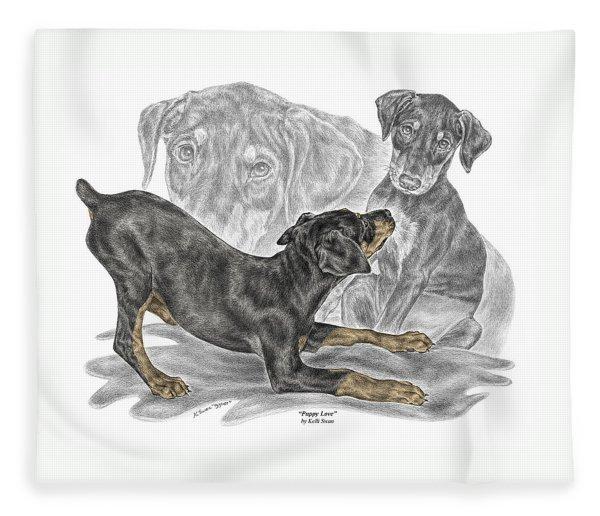 Puppy Love - Doberman Pinscher Pup - Color Tinted Fleece Blanket
