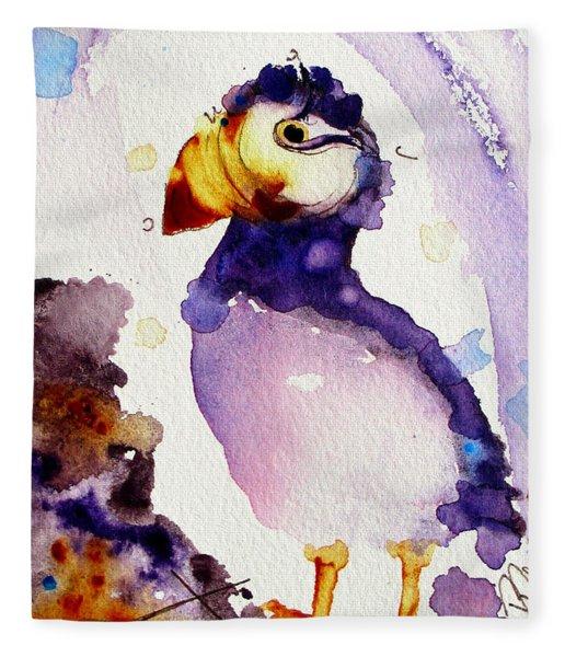 Purple Puffin Fleece Blanket