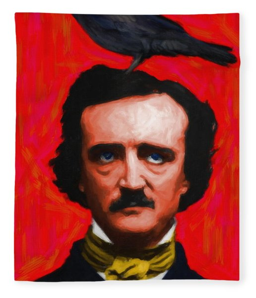Quoth The Raven Nevermore - Edgar Allan Poe - Painterly - Red - Standard Size Fleece Blanket
