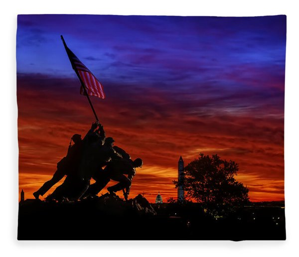 Raising The Flag Fleece Blanket