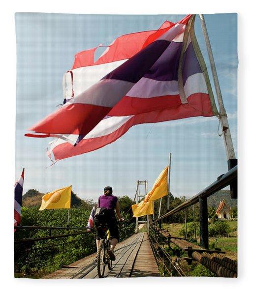 Rear View Of A Woman Riding A Bike Fleece Blanket
