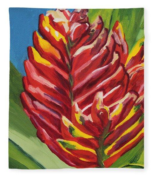 Red Bromeliad Fleece Blanket
