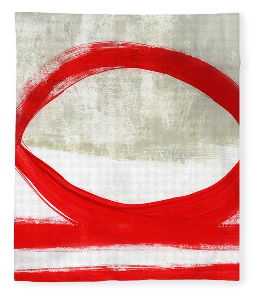 Red Circle 4- Abstract Painting Fleece Blanket