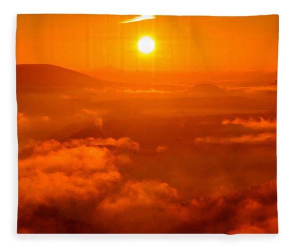 Red Dawn On The Lilienstein Fleece Blanket